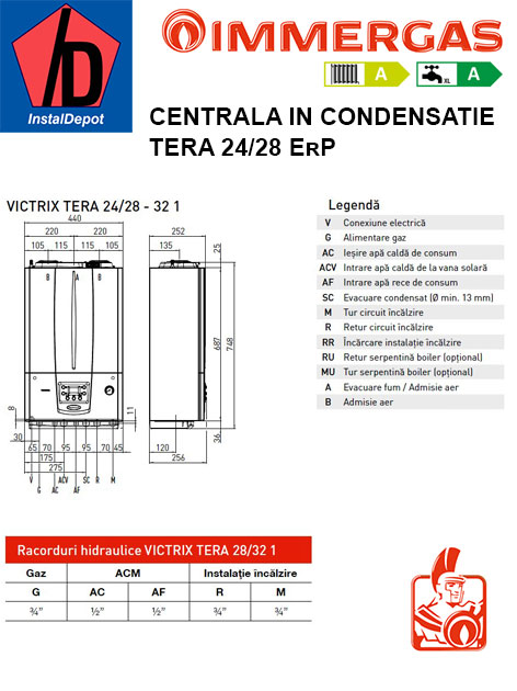 Centrala termica pe gaz in condensatie immergas victrix for Centrala termica immergas victrix exa 24 28 1 erp